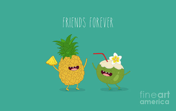 Wall Art - Digital Art - Funny Tropical Fruits. Pineapple And by Serbinka