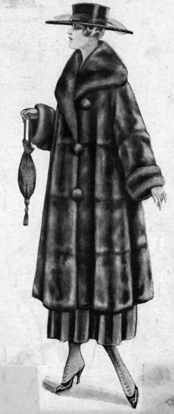 Vertical Line Digital Art - Fur Coat by Hulton Archive