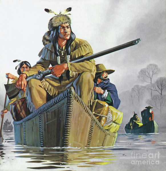 Wall Art - Painting - Fur Traders On The Mississippi In Winter by Angus McBride