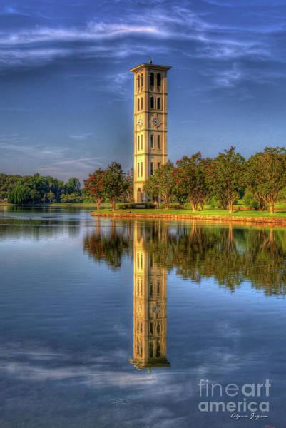 Photograph - Furman Bell Tower Reflections 2 Furman University Greenville South Carolina Landscape Art by Reid Callaway