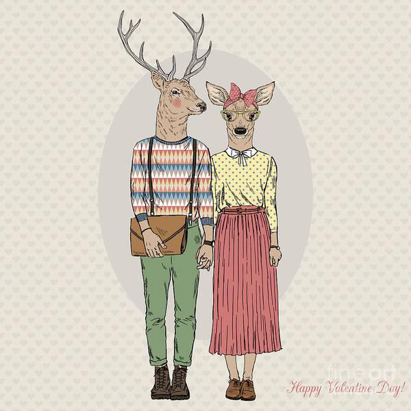 Human Body Wall Art - Digital Art - Furry Art Illustration Of Deers by Olga angelloz