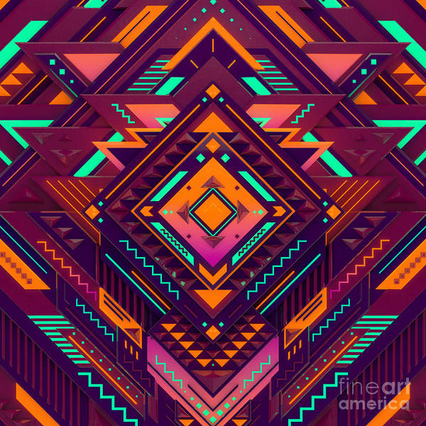 Mexico Photograph - Futuristic Colorful Pattern. Triangles by Alx rmnwsky