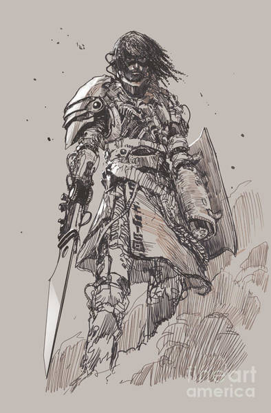 Wall Art - Digital Art - Futuristic Knight With by Tithi Luadthong