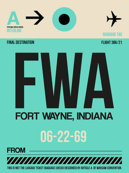 Wall Art - Digital Art - Fwa Fort Wayne Luggage Tag I by Naxart Studio