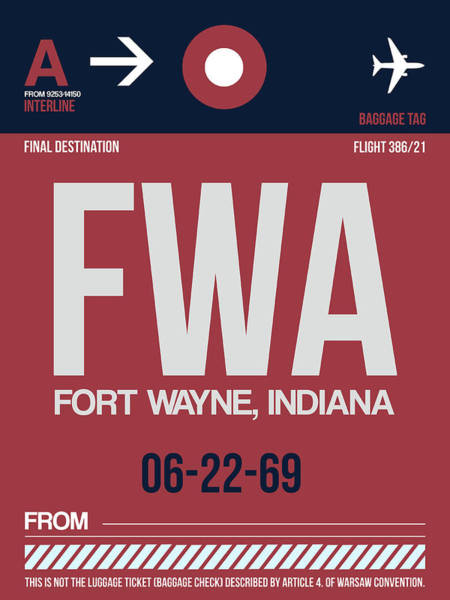 Wall Art - Digital Art - Fwa Fort Wayne Luggage Tag II by Naxart Studio