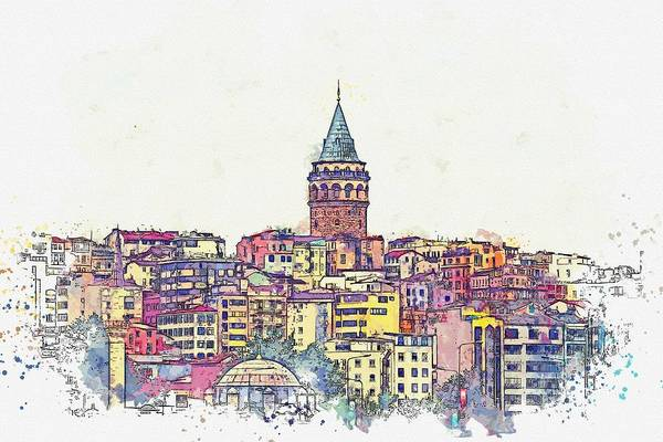 Painting - Ga Ata Tower, Pera, Istanbul, Turkey -  Watercolor By Adam Asar by Adam Asar