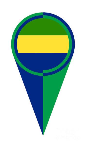Gabon Digital Art - Gabon Map Pointer Location Flag by Bigalbaloo Stock