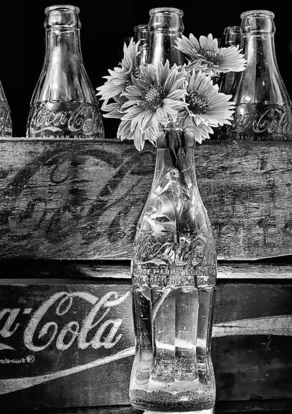 Photograph - Gaillardia And Coke Still Life Black And White by JC Findley