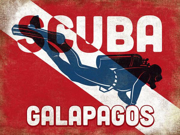 Scuba Digital Art - Galapagos Scuba Diver - Blue Retro by Flo Karp
