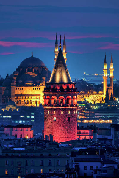 Photograph - Galata Tower And Suleymaniye Mosque by Fabrizio Troiani