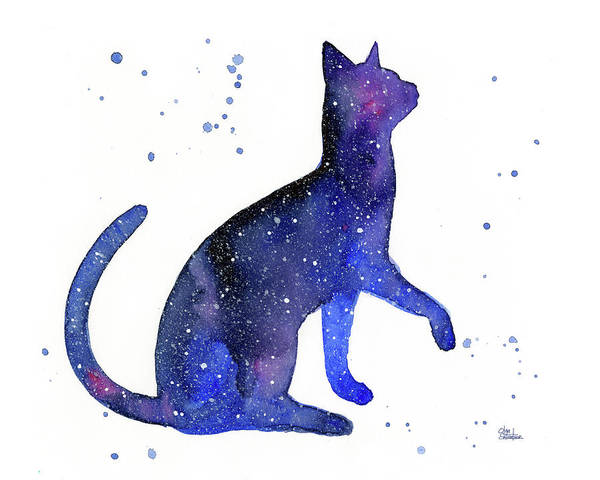 Constellation Wall Art - Painting - Galaxy Cat by Olga Shvartsur