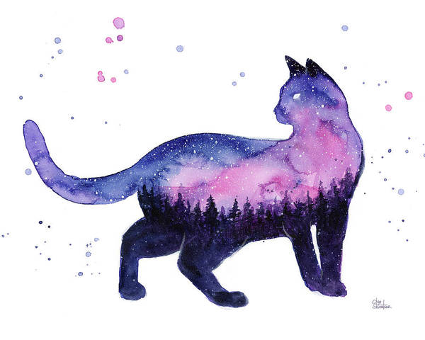 Constellation Wall Art - Painting - Galaxy Forest Cat by Olga Shvartsur