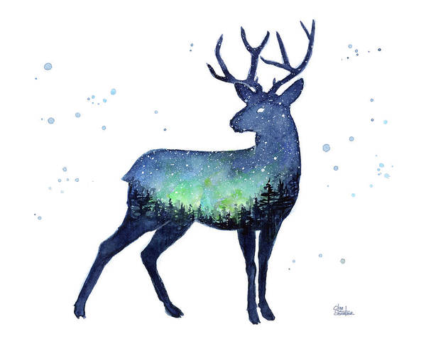 Wall Art - Painting - Galaxy Reindeer Silhouette by Olga Shvartsur