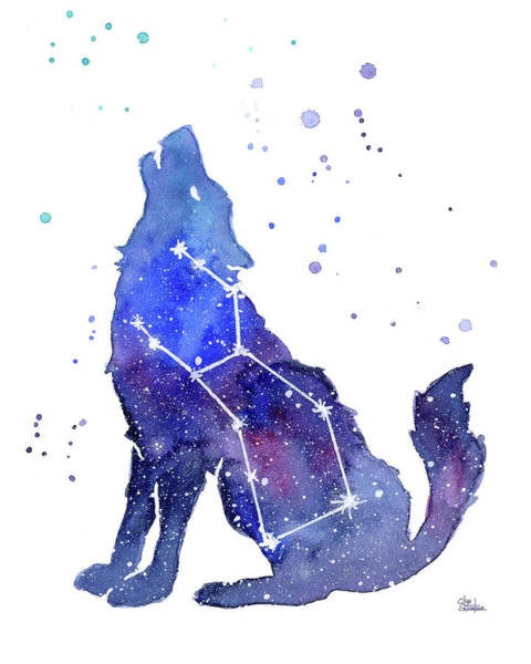 Constellation Wall Art - Painting - Galaxy Wolf - Lupus Constellation by Olga Shvartsur