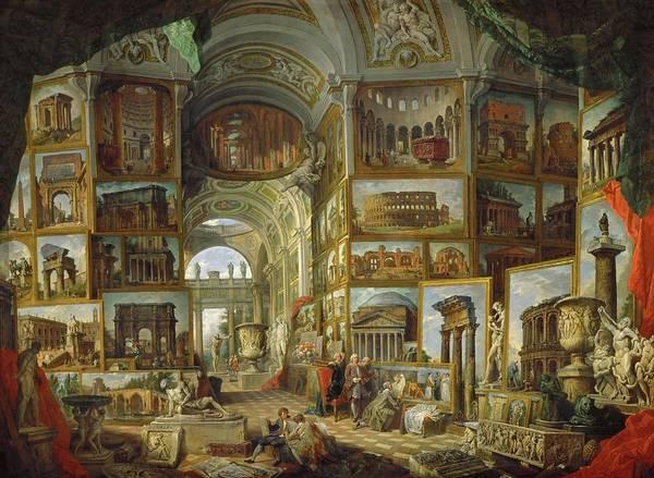 Wall Art - Painting - Galerie De Vues De La Rome Antique, Painted 1756-57 For The Duc De Choiseul. by Giovanni Paolo Pannini Giovanni Paolo Pannini