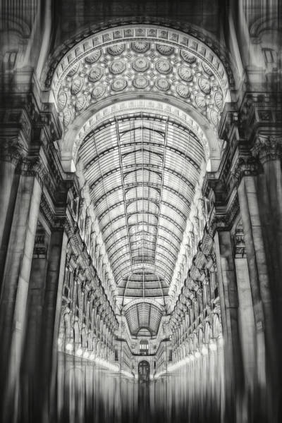 Northern Italy Photograph - Galleria Vittorio Emanuele II Milan Italy By Night Black And White by Carol Japp