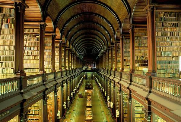 Book Shelf Photograph - Gallery Of The Old Library, Trinity by Bruno Barbier / Robertharding