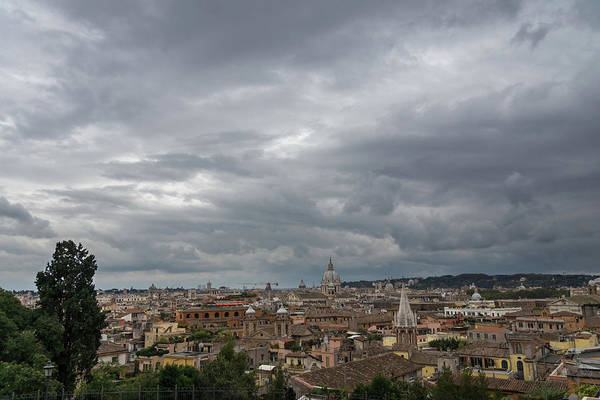 Photograph - Gallivanting Around In Rome Italy - Tempestuous Sky Over The Campanile Studded Skyline by Georgia Mizuleva