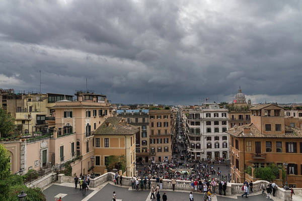 Photograph - Gallivanting Around In Rome Italy - Tempestuous Sky Over The Spanish Steps by Georgia Mizuleva