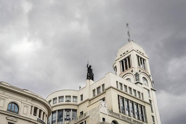 Photograph - Gallivanting Around Madrid Is A Pure Delight - Gran Via Sky Drama by Georgia Mizuleva
