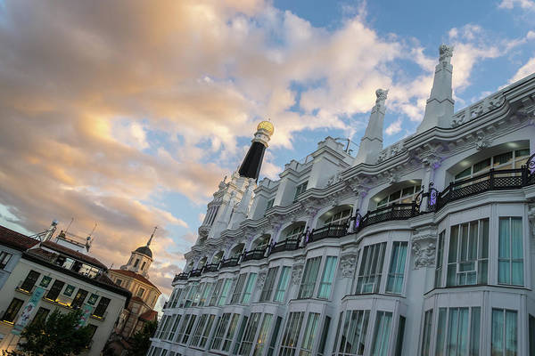 Photograph - Gallivanting Around Madrid Is A Pure Delight - Plaza De Santa Ana Colorful Dusk by Georgia Mizuleva