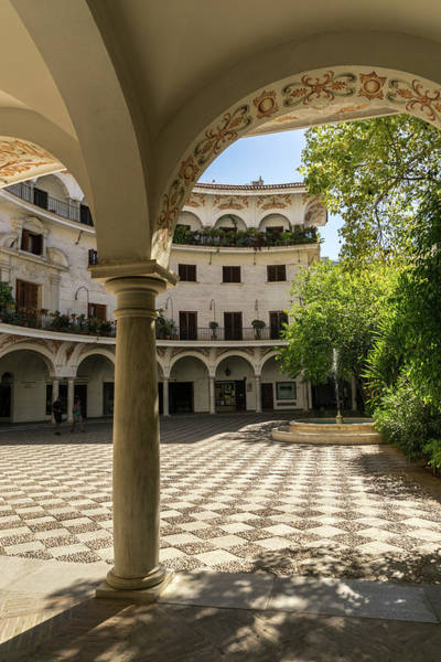 Photograph - Gallivanting Around Seville Is Pure Charm - Alluring Checkerboard Courtyard by Georgia Mizuleva