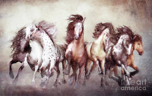 White Horse Wall Art - Digital Art - Galloping Horses Magnificent Seven by Shanina Conway