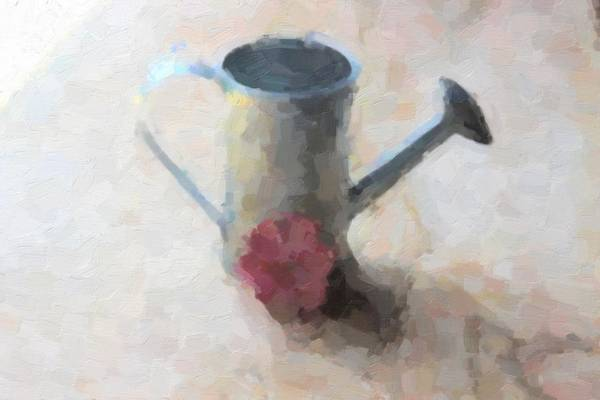 Milk Farm Restaurant Photograph - Galvonized Watering Can 3 by Cathy Lindsey