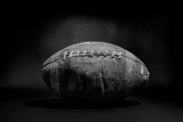 High School Photograph - Game Ball - Black And White by Peter Tellone