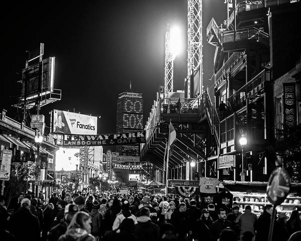 Photograph - Game Night On Lansdowne Street 2018 World Series Red Sox Boston Ma Black And White by Toby McGuire