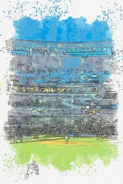 Wall Art - Painting - Game Night, Petco Park, San Diego, United States Watercolor By Ahmet Asar by Ahmet Asar