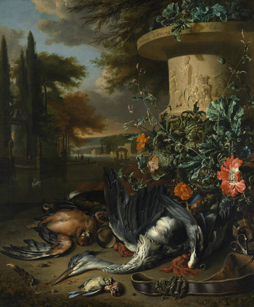 Painting - Gamepiece With A Dead Heron, 1695 by Jan Weenix