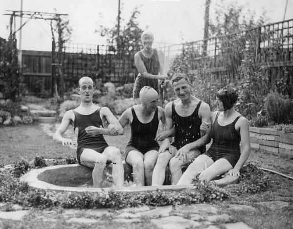 Hose Photograph - Garden Bathing by Fox Photos