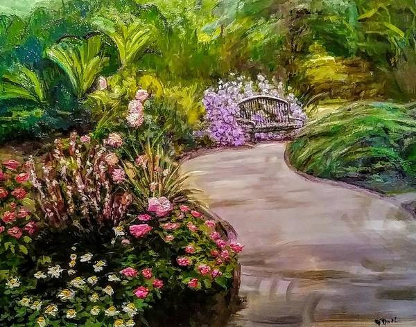 Painting - Path To The Garden Bench At Evergreen Arboretum by J Reynolds Dail