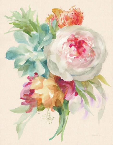 Wall Art - Painting - Garden Bouquet I On Peach Linen by Danhui Nai