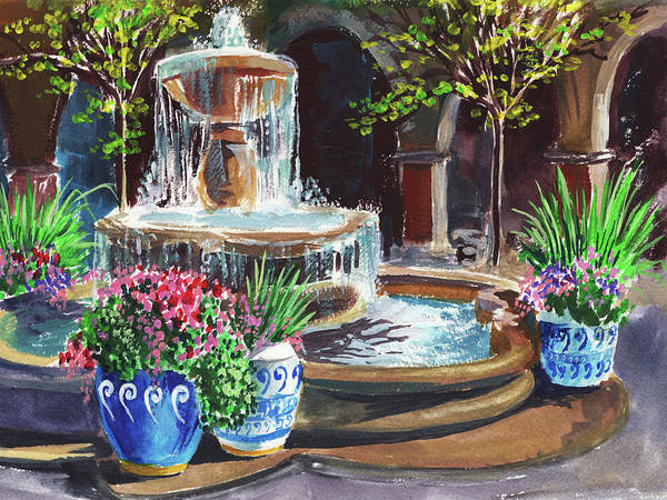 Wall Art - Painting - Garden Fountain Impressionism In Watercolor And Gouache  by Irina Sztukowski