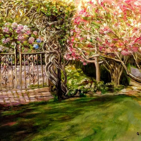 Painting - Garden Gate At Evergreen Arboretum by J Reynolds Dail