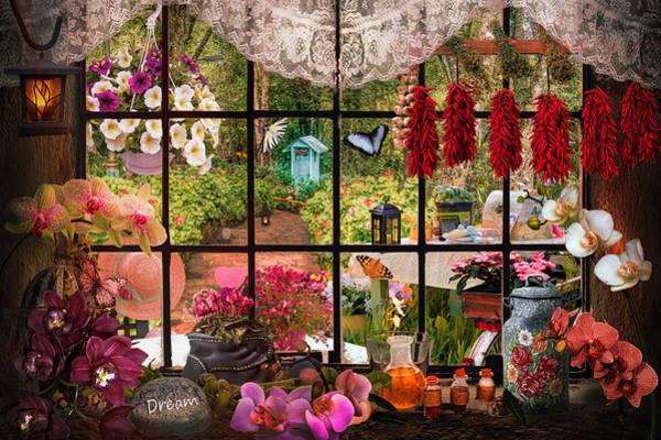 Wall Art - Digital Art - Garden Invitation Evening Light by Debra and Dave Vanderlaan