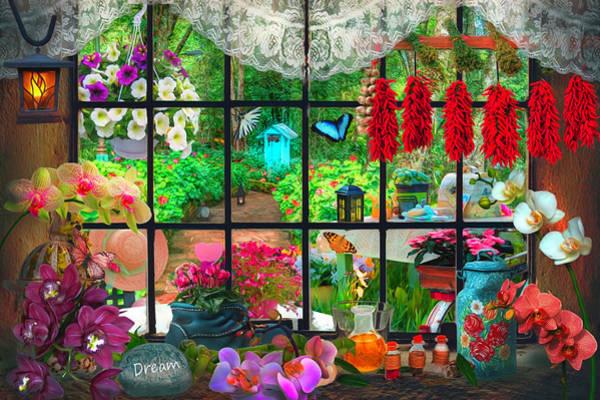 Digital Art - Garden Invitation Watercolors Painting by Debra and Dave Vanderlaan