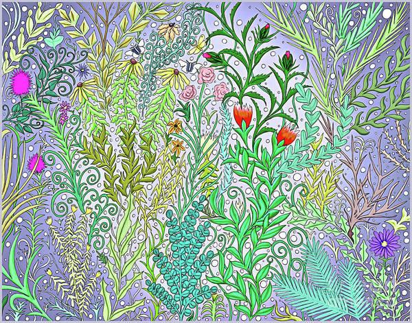 Digital Art - Garden Jungle In Purple With Fuchsia Flowers, Black Eyed Susans Spring Foliage by Lise Winne