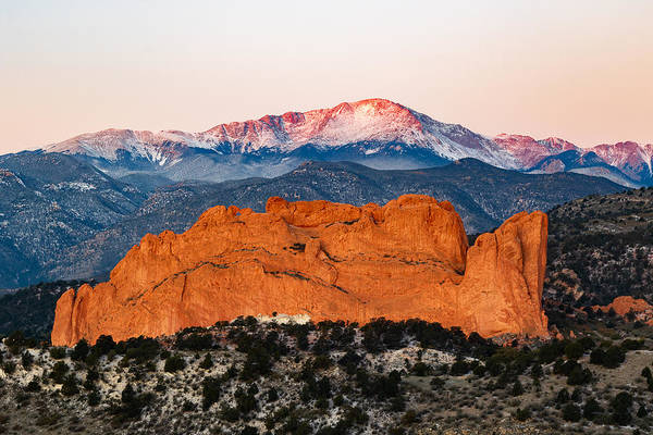 El Paso County Photograph - Garden Of The Gods And Pike's Peak by Benjamin Downing