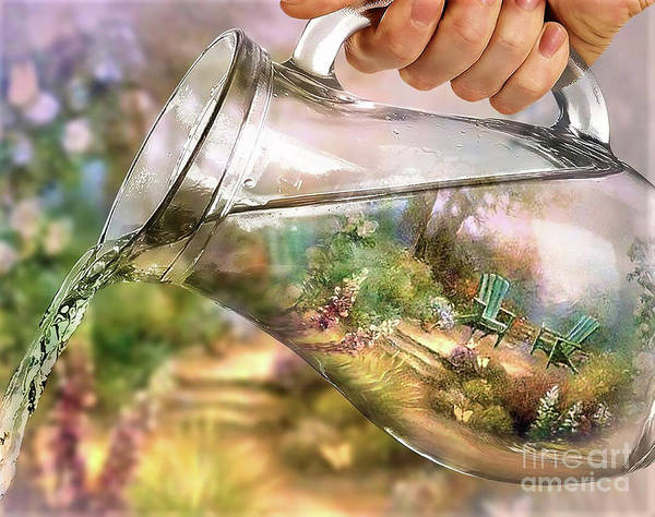 Pouring Digital Art - Garden Reflections by Kathy Kelly