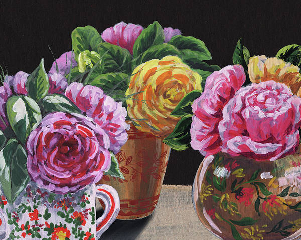 Wall Art - Painting - Garden Roses In Vases Floral Impressionism  by Irina Sztukowski