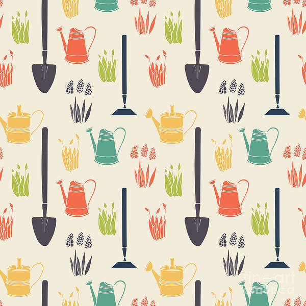 Wall Art - Digital Art - Garden Seamless Pattern by Tashanatasha