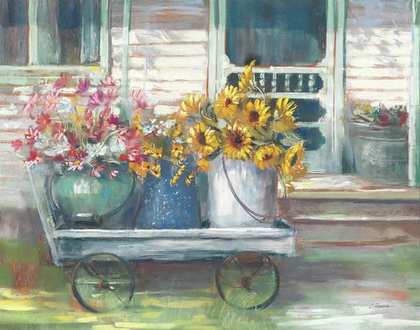 Back Door Painting - Garden Wagon Bright by Carol Rowan