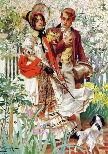 Wall Art - Painting - Garden Walk - Digital Remastered Edition by Joseph Christian Leyendecker