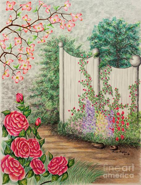 Color Pencils Drawing - Garden Walkway by Lena Auxier