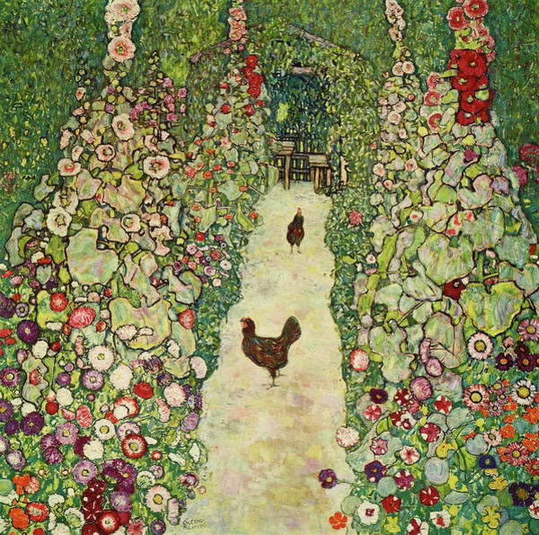 Wall Art - Painting - Garden With Chickens, 1916 by Gustav Klimt