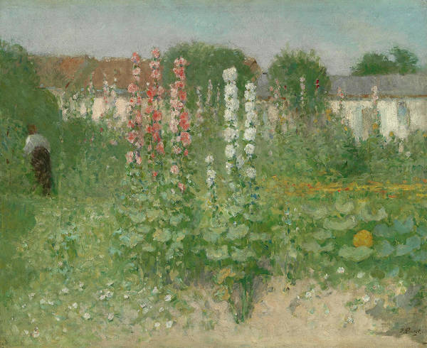 Wall Art - Painting - Garden With Hollyhocks by Ernest Quost