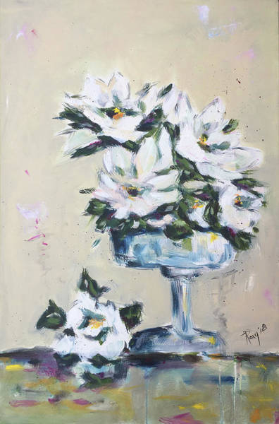 Wall Art - Painting - Gardenias In A Pedestal Vase by Roxy Rich